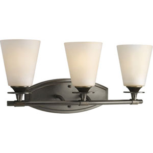 Cantata Forged Bronze Three-Light Bath Fixture with Seeded Topaz Glass