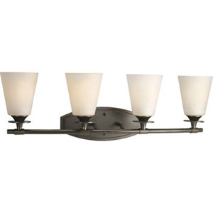 Cantata Forged Bronze Four-Light Bath Fixture with Seeded Topaz Glass