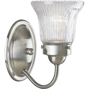 Economy Fluted Glass Brushed Nickel One-Light Bath Fixture with Clear Prismatic Glass