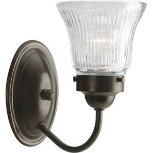 Economy Fluted Glass Antique Bronze One-Light Bath Fixture with Clear Prismatic Glass