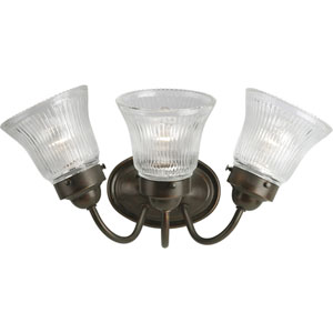 Economy Fluted Glass Antique Bronze Three-Light Bath Fixture with Clear Prismatic Glass