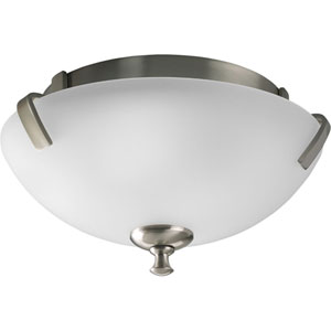 Wisten Brushed Nickel Two-Light Flush Mount with Etched Glass