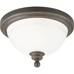 Madison Antique Bronze One-Light Flush Mount with Etched Glass Bowl with Etched Glass Bowl