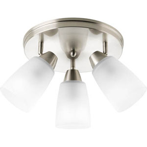 Wisten Brushed Nickel Three-Light Directional Convertible Wall Spot Light with Etched Glass