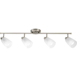 Wisten Brushed Nickel Four-Light Directional Convertible Wall Spot Light with Etched Glass Shade