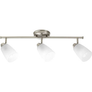 Wisten Brushed Nickel Three-Light Directional Convertible Wall Spot Light with Etched Glass Shade