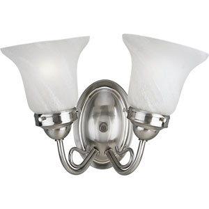 P3368-09:  Bedford Brushed Nickel Two-Light Bath Fixture