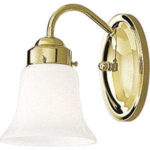 Opal Glass Polished Brass One-Light Bath Fixture with White Opal Glass