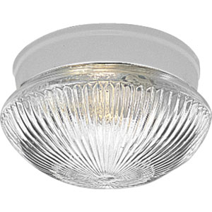 Fitter White One-Light Flush Mount with Clear Prismatic Glass