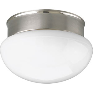 Fitter Brushed Nickel One-Light Flush Mount with White Glass