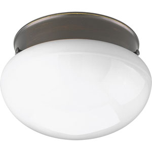 Fitter Antique Bronze P3408-20 One-Light Flush Mount with White Glass
