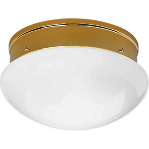 P3410-10 Polished Brass 9.5-Inch Two-Light Flush Mount