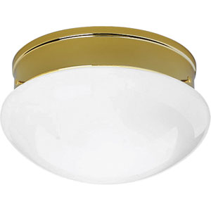 Fitter Polished Brass Two-Light Flush Mount with White Glass with White Glass