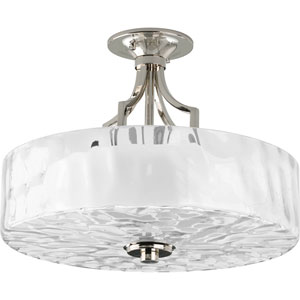 Caress Polished Nickel Two-Light Semi-Flush Mount with Glass Diffuser