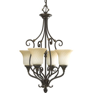 Kensington Forged Bronze Four-Light Hall and Foyer Pendant Pendant with Frosted Caramel Swirl Glass Trumpet Shaped Shades