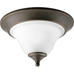 Trinity Antique Bronze One-Light Flush Mount with Etched Glass Bowl