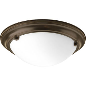 Eclipse Antique Bronze Two-Light Flush Mount with Satin White Glass Bowl