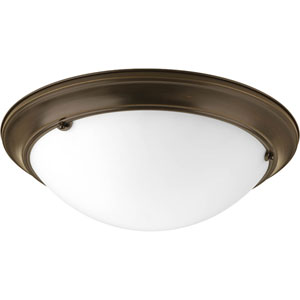 Eclipse Antique Bronze Three-Light Flush Mount with Satin White Glass Bowl