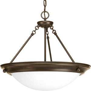 Eclipse Antique Bronze Three-Light Bowl Pendant with Satin White Glass Bowl