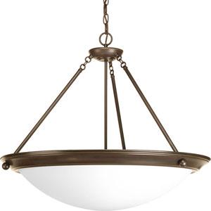 Eclipse Antique Bronze Four-Light 24-Inch Bowl Pendant with Satin White Glass Bowl