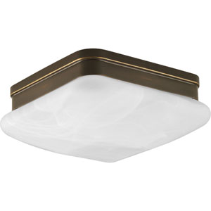 Appeal Antique Bronze Two-Light Flush Mount with Etched Alabaster Glass Square Diffuser