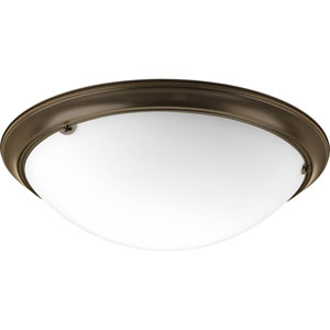 Eclipse Antique Bronze Four-Light Flush Mount with Satin White Glass Bowl