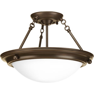 Eclipse Antique Bronze Two-Light Semi-Flush Mount with Satin White Glass Bowl