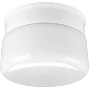 White Glass White One-Light Flush Mount with White Glass