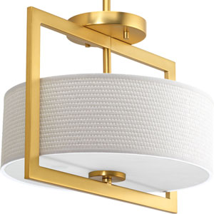 P3529-137 Harmony Natural Brass 14-Inch Three-Light Semi Flush Mount