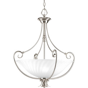 Kensington Brushed Nickel Three-Light Lantern Pendant with Swirled Etched Glass Bowl