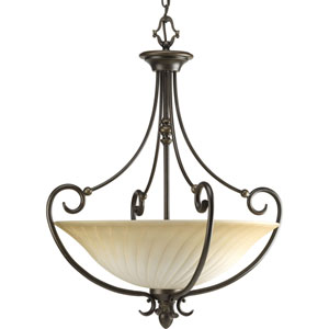 Kensington Forged Bronze Three-Light Bowl Pendant with Frosted Caramel Swirl Glass Bowl