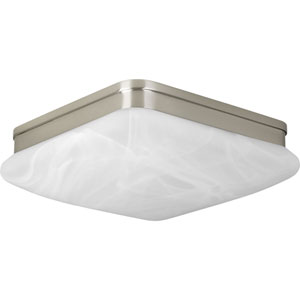 P3551-09 Appeal Brushed Nickel 11-Inch Two-Light Flush Mount with Alabaster Glass