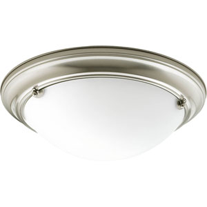 Eclipse Brushed Nickel P3561-09 Two-Light Flush Mount with Satin White Glass Bowl