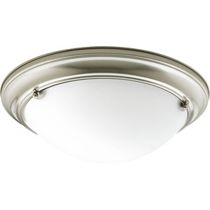 Eclipse Brushed Nickel G24Q Two-Light Flush Mount with Satin White Glass Bowl