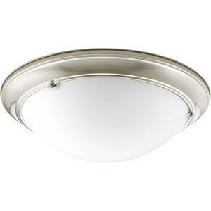 Eclipse Brushed Nickel G24Q Three-Light Flush Mount with Satin White Glass Bowl