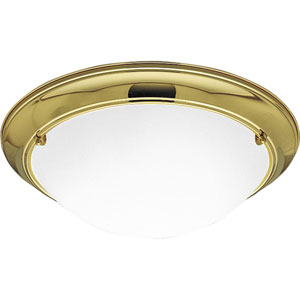 P3564-10EB:  Eclipse Polished Brass Three-Light Fluorescent Ceiling Light