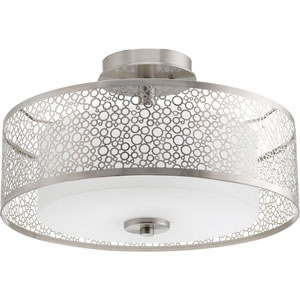 P3565-09 Mingle Brushed Nickel 16-Inch Two-Light Semi Flush Mount
