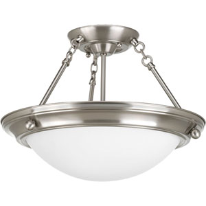 Eclipse Brushed Nickel P3567-09 Two-Light Semi-Flush Mount with Satin White Glass Bowl