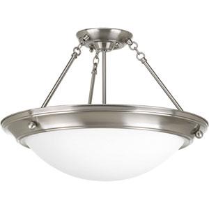 Eclipse Brushed Nickel G24Q Three-Light Semi-Flush Mount with Satin White Glass Bowl