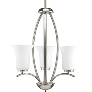 Joy Brushed Nickel Three-Light Hall and Foyer Pendant Pendant with Etched Glass Shade