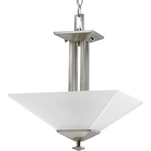 North Park Brushed Nickel Two-Light Semi-Flush Mount with Etched Glass