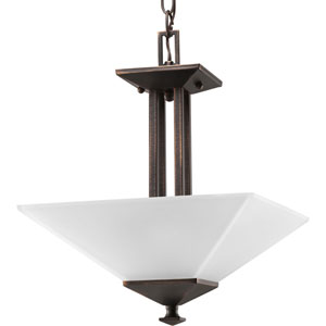 North Park Venetian Bronze Two-Light Semi-Flush Mount with Etched Glass