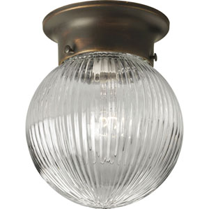Glass Globes Antique Bronze One-Light Flush Mount with Clear Ribbed Glass Globe