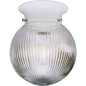 Glass Globes White One-Light K.O For Switch Flush Mount with Clear Ribbed Glass Globe
