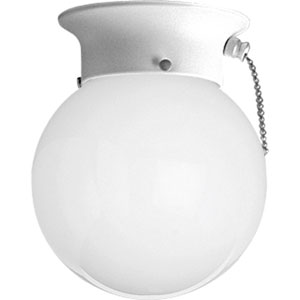 Glass Globes White One-Light Pull Chain Flush Mount with White Glass Globe
