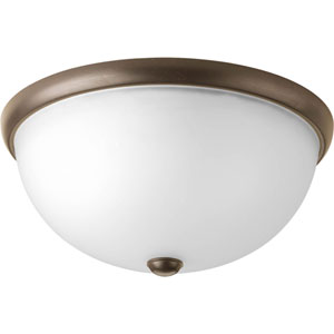 Random Antique Bronze Two-Light Flush Mount with Etched Glass Shade