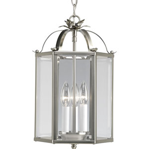 Flat Glass Brushed Nickel Three-Light Lantern Pendant with Clear Flat Glass