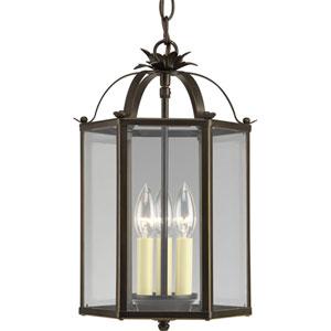 Flat Glass Antique Bronze Three-Light Lantern Pendant with Clear Flat Glass