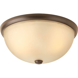 Random Antique Bronze Two-Light Flush Mount with Light Umber Etched Glass Shade