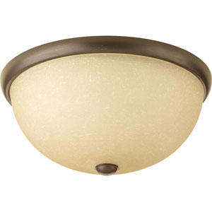 Random Antique Bronze Two-Light Flush Mount with Etched Umber Linen Glass Shade